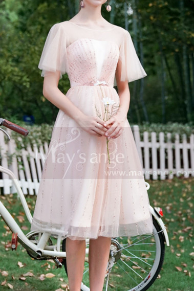 Ruffled Sleeves Tulle Pink Ball Gown Dress With Rhinestones - C996 #1