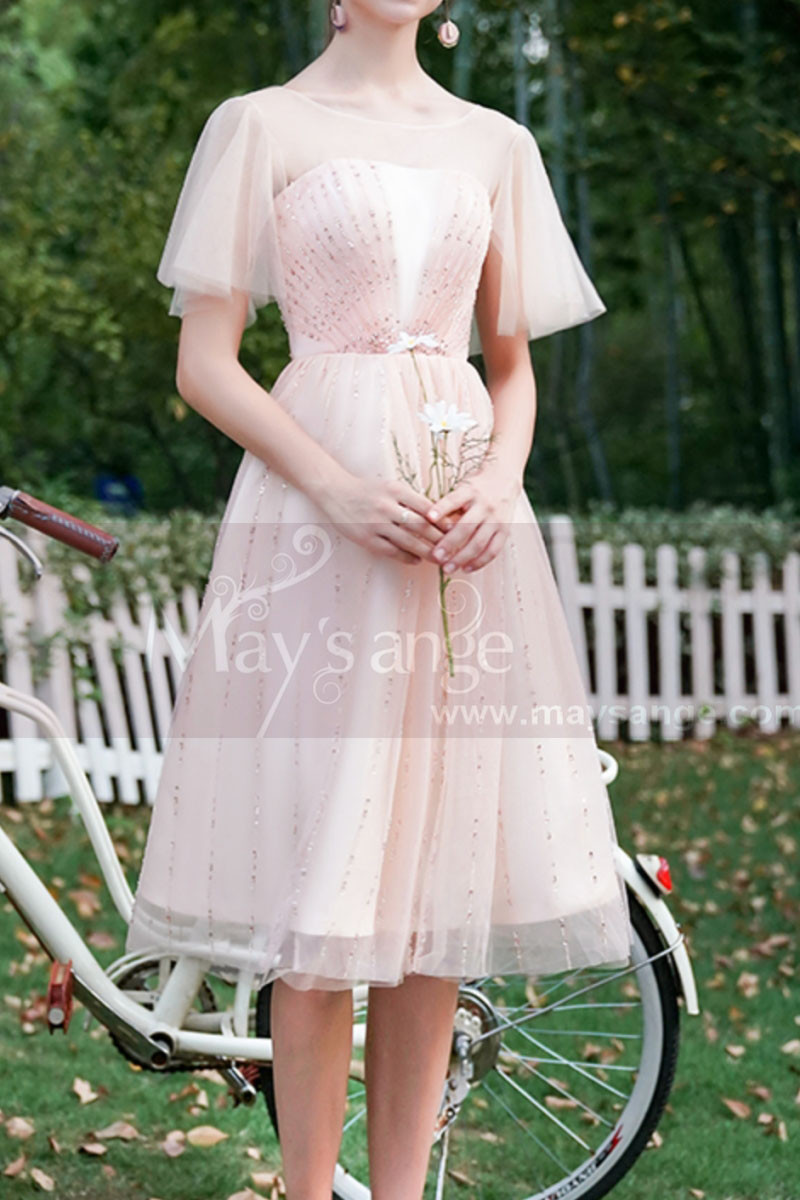 Ruffled Sleeves Tulle Pink Ball Gown Dress With Rhinestones - Ref C996 - 01