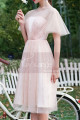 Ruffled Sleeves Tulle Pink Ball Gown Dress With Rhinestones - Ref C996 - 03