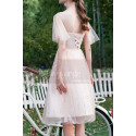 Ruffled Sleeves Tulle Pink Ball Gown Dress With Rhinestones - Ref C996 - 04