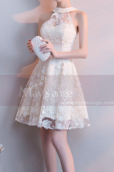 Embroidered Short High Neck Ivory Evening Dress