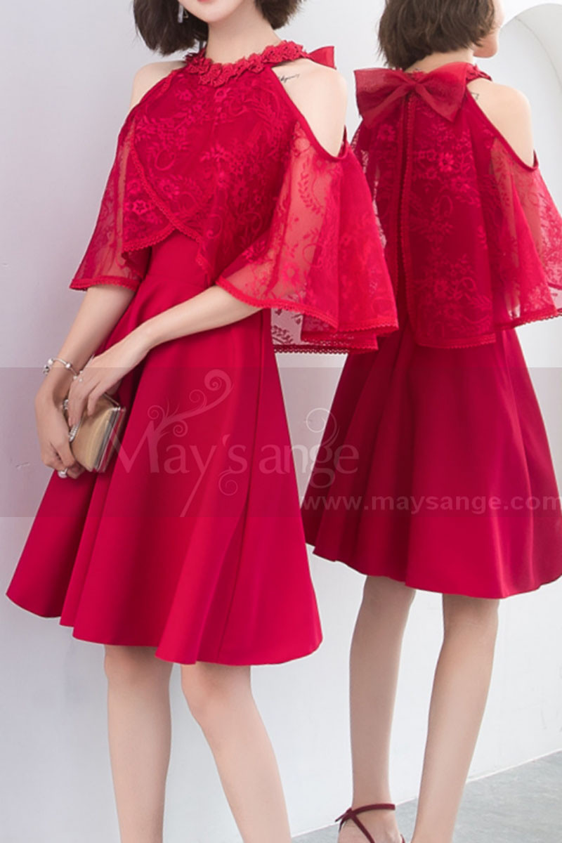 Red Dinner Gowns With Lace Cape And Knot On The Back - Ref C1926 - 01