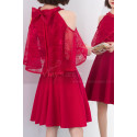 Red Dinner Gowns With Lace Cape And Knot On The Back - Ref C1926 - 04
