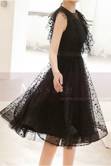 Bohemian cocktail dress - Sheer-Yoke Elegant Black Evening Dresses - C998 #1
