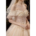 Luxury Off The Shoulder Champagne Wedding Dress Ball Gown - Ref M081 - 04