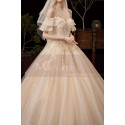Luxury Off The Shoulder Champagne Wedding Dress Ball Gown - Ref M081 - 05