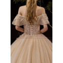 Luxury Off The Shoulder Champagne Wedding Dress Ball Gown - Ref M081 - 06