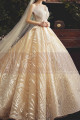 Chic Sparkling Champagne Strapless Princess Bridal Gown - Ref M080 - 06