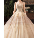 Modern Ad Luxurious Ivory Golden Princess Wedding Dress With Long Train - Ref M078 - 03