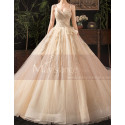 Modern Ad Luxurious Ivory Golden Princess Wedding Dress With Long Train - Ref M078 - 05