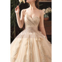 Modern Ad Luxurious Ivory Golden Princess Wedding Dress With Long Train - Ref M078 - 06