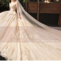 Modern Ad Luxurious Ivory Golden Princess Wedding Dress With Long Train - Ref M078 - 07