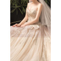 Modern Ad Luxurious Ivory Golden Princess Wedding Dress With Long Train - Ref M078 - 04