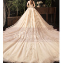 Modern Ad Luxurious Ivory Golden Princess Wedding Dress With Long Train - Ref M078 - 08