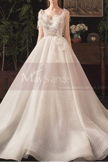 V Neckline Summer Wedding Dresses With Pretty Bow And Tie-Up Strap - M079 #1