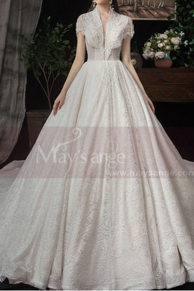 White wedding dress - copy of High Collar Lace Mermaid Wedding Gowns With Sleeves - M082 #1
