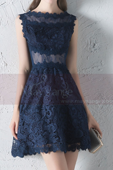 Blue cocktail dress - Sheer-Yoke Short  Navy Blue Lace Wedding-Guest Dress - C1931 #1