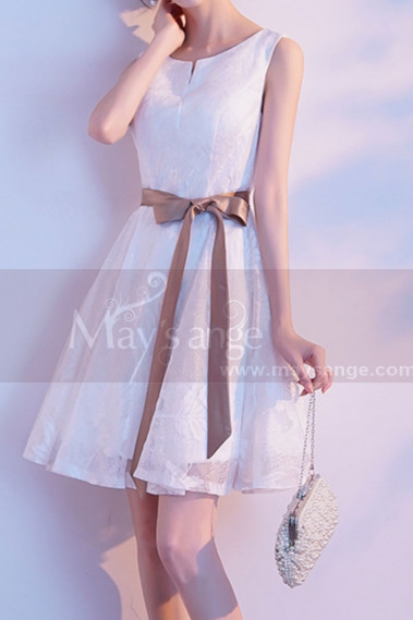 Cheap short dresses - Lace White Short Party Dress With Brown Ribbon Belt - C1930 #1