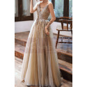 Backless Long Embroidered-Bodice A-Line Ball Gown - Ref L1992 - 03