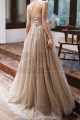 Backless Long Embroidered-Bodice A-Line Ball Gown - Ref L1992 - 06