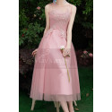 Tea-Length Pink Evening Gowns For Bridesmaid - Ref C1993 - 02