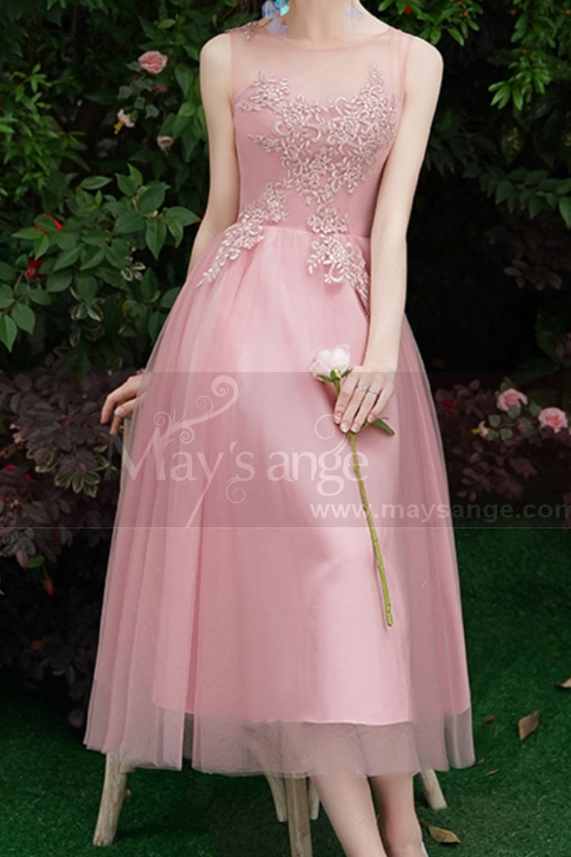Tea-Length Pink Evening Gowns For Bridesmaid - Ref C1993 - 01