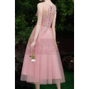 Tea-Length Pink Evening Gowns For Bridesmaid - Ref C1993 - 03