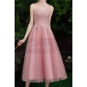 Tea-Length Pink Evening Gowns For Bridesmaid - Ref C1993 - 04