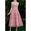 Tea-Length Pink Evening Gowns For Bridesmaid - Ref C1993 - 05
