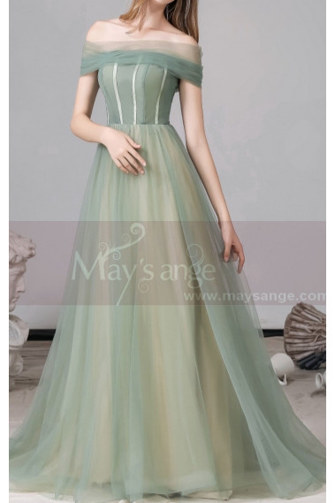 Green evening dress - Two Color Off-the-Shoulder Ball Gown Dress - L1994 #1