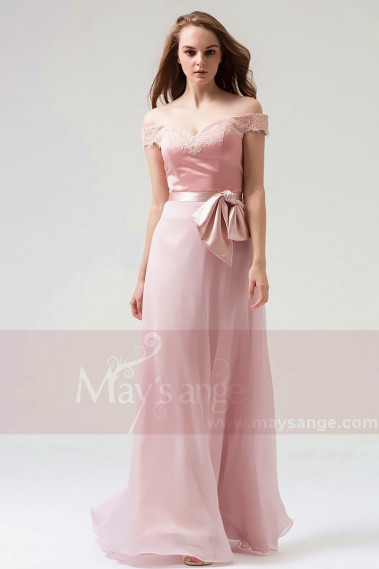copy of Long Chiffon Evening Dress With Rhinestone Straps - L821PROMO #1