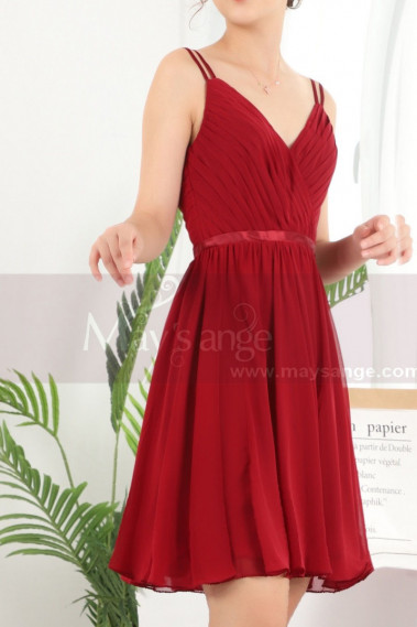 Backless Ruched Bodice Chiffon Red Summer Dress With Double Thin Straps - C910 #1