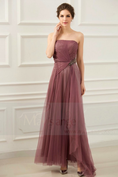 Straight evening dress - copy of Long Chiffon Evening Dress With Rhinestone Straps - L654PROMO #1