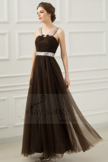 copy of Long Chiffon Evening Dress With Rhinestone Straps - L278PROMO #1