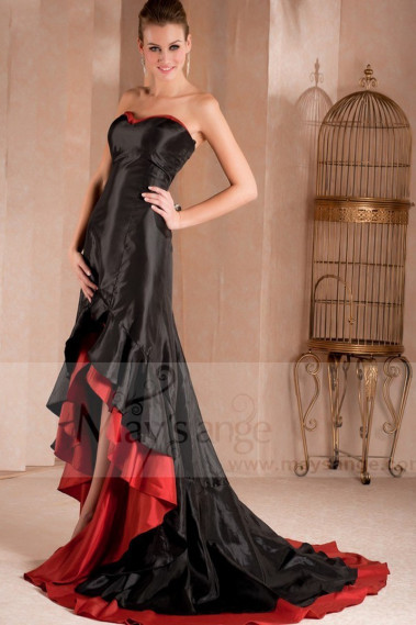 Asymmetrical evening dress - copy of Long Chiffon Evening Dress With Rhinestone Straps - L275PROMO #1