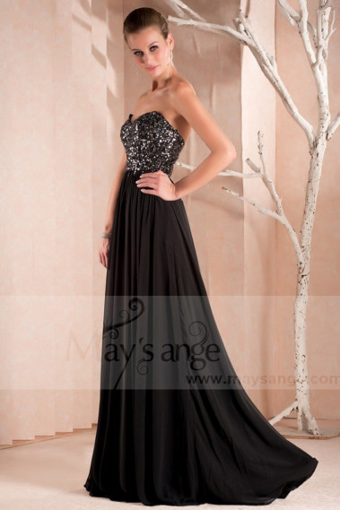 copy of Long Chiffon Evening Dress With Rhinestone Straps - L261PROMO #1