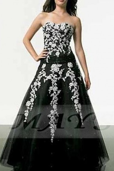 Strapless Evening Dress - Black Strapless Ball Gown With White Embroidered - P006 #1