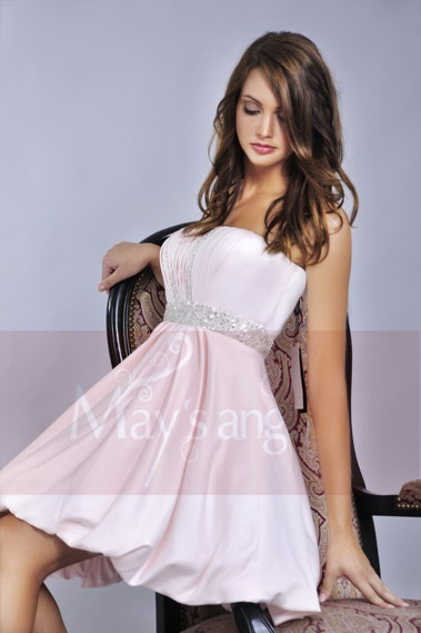 copy of Short Lace Graduation Party Dress With Short Sleeves And Belt - C052 promo #1