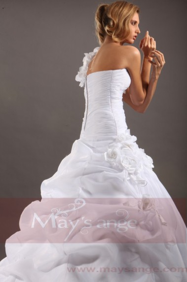 Bouffant wedding dress - Affordable wedding dresses Rachel with one strap - M042 #1