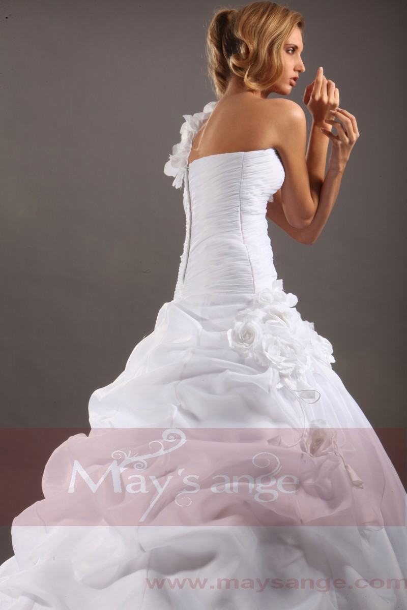 Affordable wedding dresses Rachel with one strap - Ref M042 - 01
