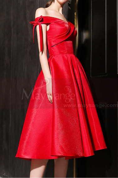 Sexy cocktail dress - Off The Shoulder Satin Ever Pretty Red Bridesmaid Dresses - C1942 #1