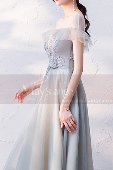 Bohemian cocktail dress - copy of Silver Gray Tulle Vintage Princess Prom Dress With Neck Tie - C1945 #1