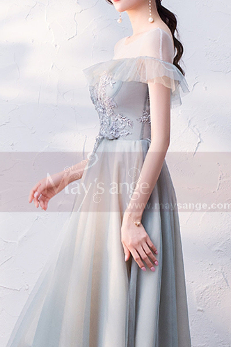 copy of Silver Gray Tulle Vintage Princess Prom Dress With Neck Tie - Ref C1945 - 01