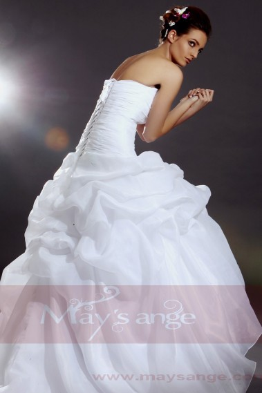 Long wedding dress - White Bridal wedding dress Berlin style - M044 #1