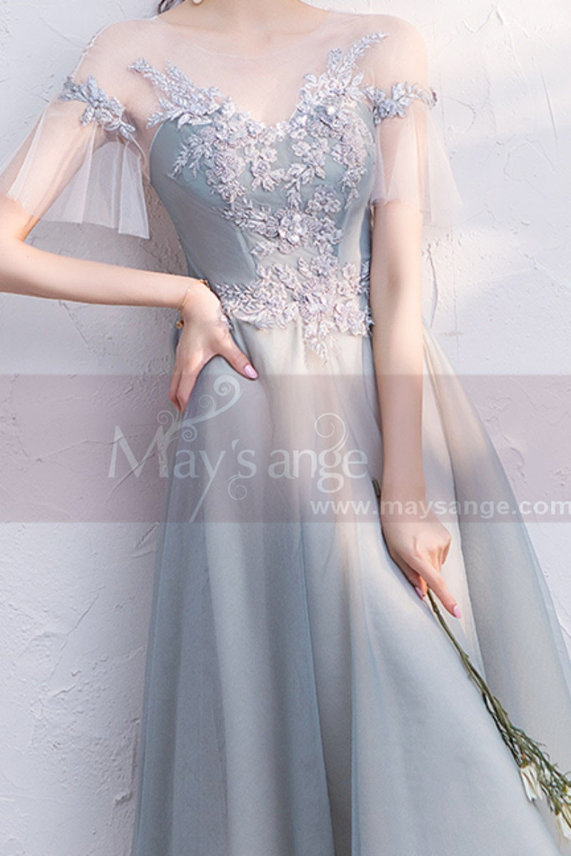 copy of Silver Gray Tulle Vintage Princess Prom Dress With Neck Tie - Ref C1948 - 01