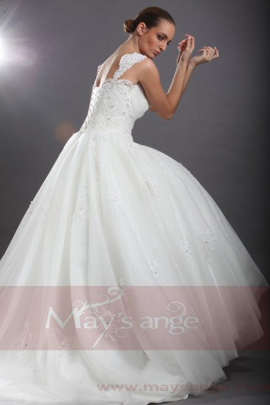 White wedding dress - Affordable wedding dress Milan with 2 straps M047 - M047 #1