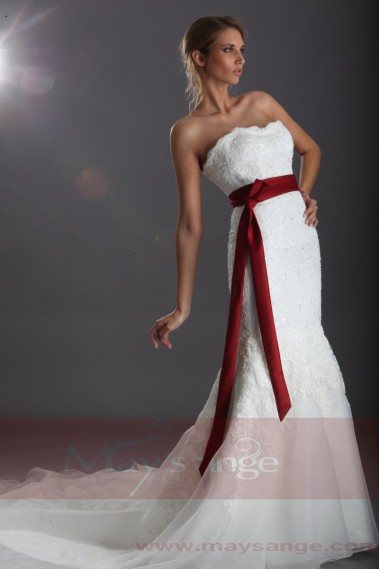 Long wedding dress - Wedding Dress With Red Ribbon On Waist-Ruby Red Wedding Dress - M048 #1