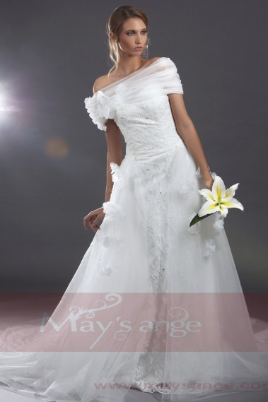 White wedding dress - Beach wedding dress Venus with embroideries and flowers - M049 #1
