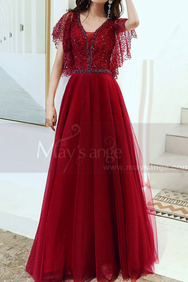 Sequined Top Floor Length Long Red Dress Tulle With Ruffle Sleeve - L1997 #1