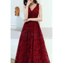 V Neck Sleeveless Red Lace Dress For Prom With Lace Up Closing - Ref L1998 - 03